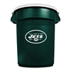 Team Brute Round Container w/Lid, Jets, 32 Gal, Plastic, Hunter Green/White