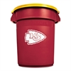 Rubbermaid Commercial Team Brute Round Container w/Lid, Chiefs, 32 Gal, Plastic, Red/White/Orange