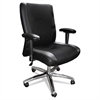 Mercado Series Mid-Back Leather/Mesh-Fabric Chair, Black