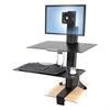 Ergotron WorkFit-S Sit-Stand Workstation w/Worksurface, LCD LD Monitor, Aluminum/Black