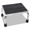 Foot Stool, 16w x 12d x 8 1/4h, Steel, Chrome/Black Mat