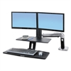 Ergotron WorkFit-A Sit-Stand Workstation w/Suspended Keyboard, Dual, Aluminum/Black