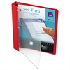 "Avery See-Thru View Binder w/Round Rings, 11 x 8 1/2, 1"" Cap, Red"
