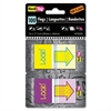 "Redi-Tag Pop-Up Fab Page Flags w/Dispenser, ""Look!"", Purple/Yellow; Yellow/Teal, 100/Pack"