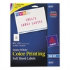 Avery Full-Sheet Vibrant Color-Printing Labels, 8 1/2 x 11, Matte White, 20/Pack