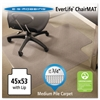 ES Robbins EverLife Chair Mats For Medium Pile Carpet With Lip, 45 x 53, Clear