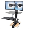 WorkFit-S Sit-Stand Workstation w/Worksurface, Dual LCD Monitors, Aluminum/Black