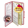 Pressboard Classification Folders, Legal, Six-Section, Bright Red, 10/Box