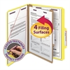 Smead Pressboard Classification Folders, Letter, Four-Section, Yellow, 10/Box