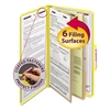 Smead Pressboard Classification Folders, Legal, Six-Section, Yellow, 10/Box