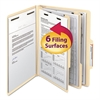 Manila Classification Folders with 2/5 Right Tab, Letter, Six-Section, 10/Box