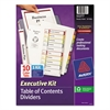Avery Ready Index Customizable Executive Table of Contents, Asst Dividers, 10-Tab, Ltr