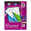 Preprinted Plastic Tab Dividers w/Double Pockets, 6-Tab, 11 x 9