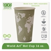 World Art Renewable Compostable Hot Cups, 16 oz., 50/PK, 20 PK/CT