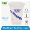 Eco-Products BlueStripe 25% Recycled Content Cold Cups, 16 oz, Clear/Blue, 50/Pk, 20 Pk/Ct