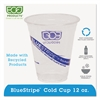 Eco-Products BlueStripe 25% Recycled Content Cold Cups, 12 oz, Clear/Blue, 50/Pk, 20 Pk/Ct