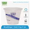 Eco-Products BlueStripe 25% Recycled Content Cold Cups, 9 oz., Clear/Blue, 50/Pk, 20 Pk/Ct