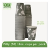 Eco-Products World Art Renewable/Compostable Hot Cups, 12 oz, Gray, 50/Pack
