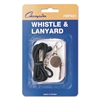 Sports Whistle with Black Nylon Lanyard, Metal, Silver