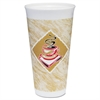 Foam Hot/Cold Cups, 20 oz., Café G Design, White/Brown with Red Accents
