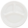 Plastic Plates, 9 Inches, White, 3 Compartments, Round, 125/Pack