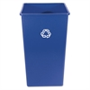 Rubbermaid Commercial Recycling Container, Square, Plastic, 50 gal, Blue