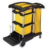 Rubbermaid Commercial HYGEN HYGEN M-fiber Healthcare Cleaning Cart, 22w x 48-1/4d x 44h, Black/Yellow/Silver