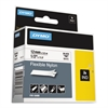 "Rhino Flexible Nylon Industrial Label Tape, 1/2"" x 11 1/2 ft, White/Black Print"