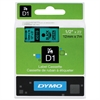 "DYMO D1 High-Performance Polyester Removable Label Tape, 1/2"" x 23 ft, Black on Green"