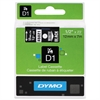 "DYMO D1 High-Performance Polyester Removable Label Tape, 1/2"" x 23 ft, White on Black"