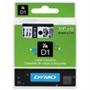 "DYMO D1 High-Performance Polyester Removable Label Tape, 1/4"" x 23 ft, Black on Clear"