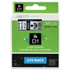 "DYMO D1 High-Performance Polyester Removable Label Tape, 3/4"" x 23 ft, Black on Clear"
