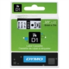 "D1 High-Performance Polyester Removable Label Tape, 3/8"" x 23 ft, Black on White"
