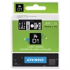 "DYMO D1 High-Performance Polyester Removable Label Tape, 3/4"" x 23 ft, White on Black"