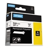 "Rhino Permanent Poly Industrial Label Tape, 3/8"" x 18 ft, White/Black Print"