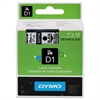 "DYMO D1 High-Performance Polyester Removable Label Tape, 1"" x 23 ft, Black on Clear"