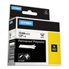 "DYMO Rhino Permanent Poly Industrial Label Tape, 1/2"" x 18 ft, White/Black Print"