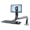 WorkFit-A Sit-Stand Workstation, LCD LD Monitor, Polished Aluminum/Black