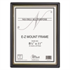 EZ Mount Document Frame w/Trim Accent, Plastic, 8-1/2 x 11, Black/Gold, 18/CT