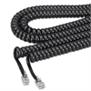 Softalk Coiled Phone Cord, Plug/Plug, 12 ft., Black