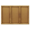 Quartet Enclosed Bulletin Board, Natural Cork/Fiberboard, 72 x 48, Oak Frame