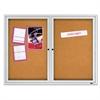 "Enclosed Cork Bulletin Board, Cork/Fiberboard, 48"" x 36"", Silver Aluminum Frame"