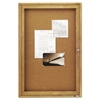 Quartet Enclosed Bulletin Board, Natural Cork/Fiberboard, 24 x 36, Oak Frame