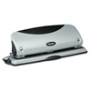 "12-Sheet Easy View Desktop Three-Hole Punch, 9/32"" Holes, Black/Silver"