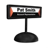 People Pointer Desktop Sign, w/Nameplate, Plastic, 9 x 3, Black