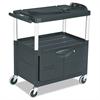 MediaMaster Three-Shelf AV Cart with Cabinet, 18-5/8w x 32-1/2d x 32-1/8h, Black