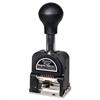Royall Economy Numbering Machine, Six Wheels, Pre-Inked/Re-Inkable, Black