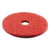 "Standard Buffing Floor Pads, 18"" Diameter, Red, 5/Carton"