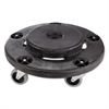 Rubbermaid Commercial Brute Round Twist On/Off Dolly, 250lb Capacity, 18dia x 6 5/8h, Black
