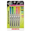 Zazzle Liquid Ink Highlighter, Chisel Tip, Asst Colors, 5/Set